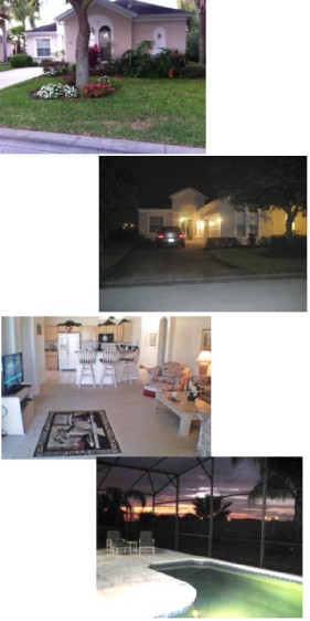 front view, pool, kitchen, lounge of this Orlando vacation rental villa
